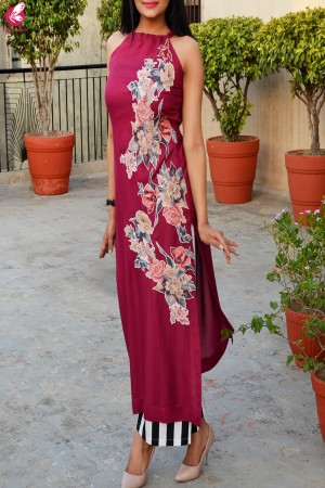 Wine Colored Applique Work Kurti with Striped Palazzo