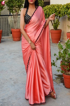 Peach Pink Satin Bead Hand Work Scallop Border Saree