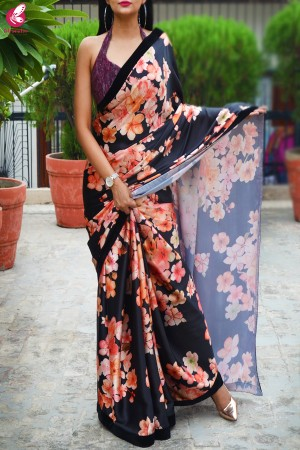 Black Satin Printed Satin Velvet Taping Saree
