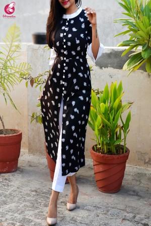 Black & White Printed Cotton Silk Kurti with White Cotton Silk Pants