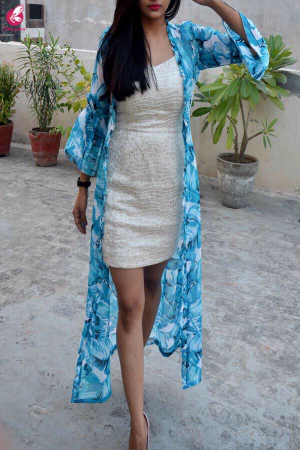 Sky Blue & White Printed Georgette Shrug