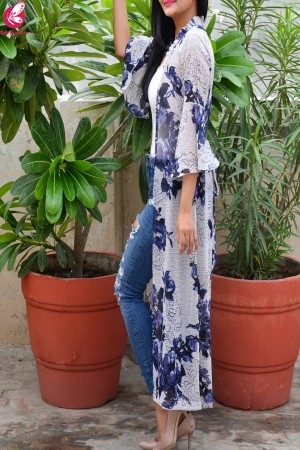Multicolored Printed Floral Georgette Bell Sleeves Long Shrug