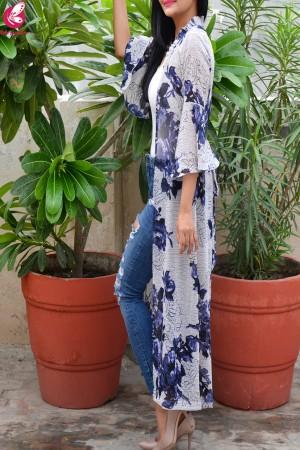 Multicolored Printed Floral Georgette Bell Sleeves Long Shrug