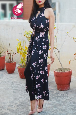 Black Crepe Printed Floral Front Slit Kurti
