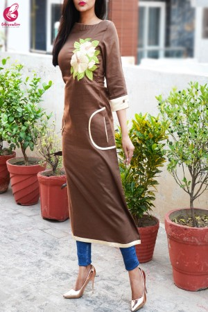 Brown Cotton Slub Embroidered A-Line Kurti