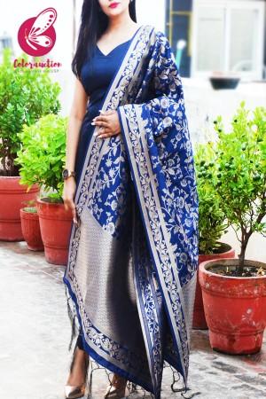 Navy Blue Floral Banarasi Silk Dupatta
