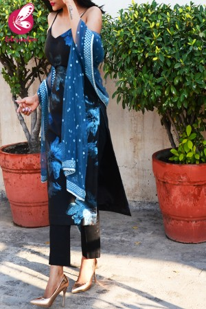 Black & Blue Silk Brocade Padded Kurti with Black Cotton Silk Pants and Blue Mirror Work Dupatta