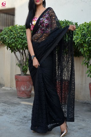 Black Chandelier Net Dupion Silk Taping Saree