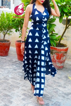 Blue & White Printed Rayon Sleeveless Kurti Set