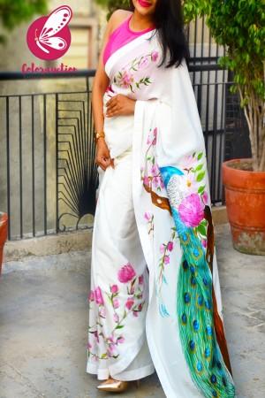 White Pink Hand-painted Silk Crepe Satin Taping Saree