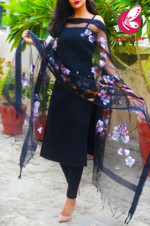 Black Organza Cherry Blossoms Floral Hand painted Stole