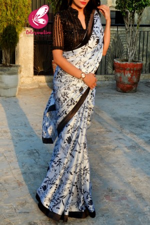 Black & White Printed Satin Black Satin Taping Saree