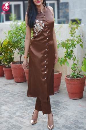 Brown Satin Sleeveless Front Slit Kurti Set
