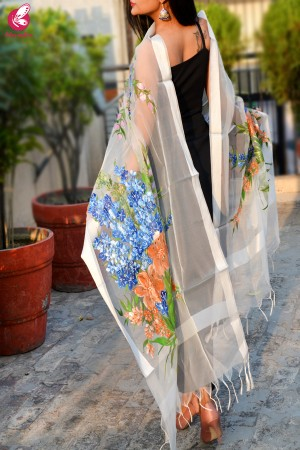 White Organza Hand painted Multicolored Floral Stole
