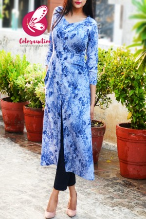 Blue & White Rayon Floral Print Kurti with Navy Blue Cotton Silk Kurti Set