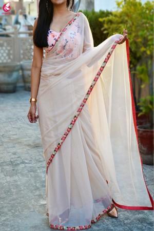Cream Net Embroidered Border Saree
