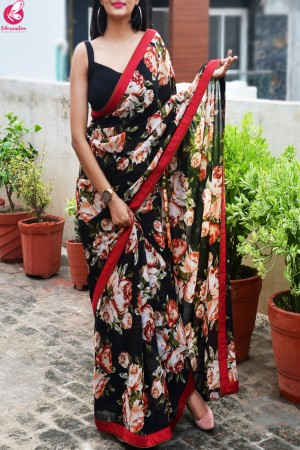 Maroon & Black Printed Georgette Dupion Silk Taping Saree