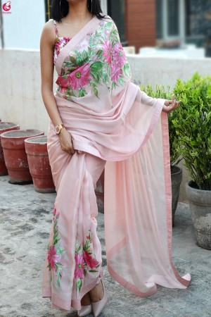 Light Pink Hand-painted Silk Chiffon Saree
