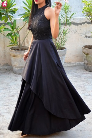 Black Padded Double Flair Embroidered Dress