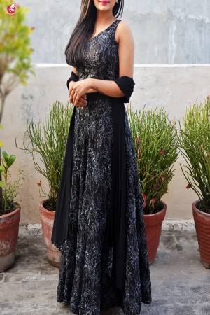 Black Embroidered Net Lehenga with Padded Blouse and Cut Work Stole