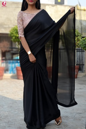 Black Satin Dupion Silk Taping Saree