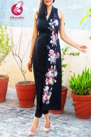 Black Cotton Silk Floral Applique Kurti with Black Cotton Silk Pants