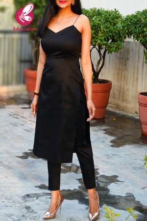 Black Cotton Silk Kurti Set