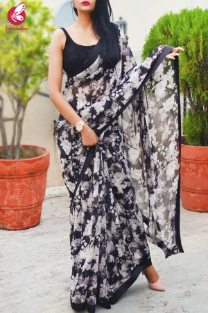 Black & White Printed Georgette Black Satin Taping Saree