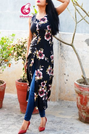 Black Floral Printed Crepe  Sleeveless Front Slit Kurti