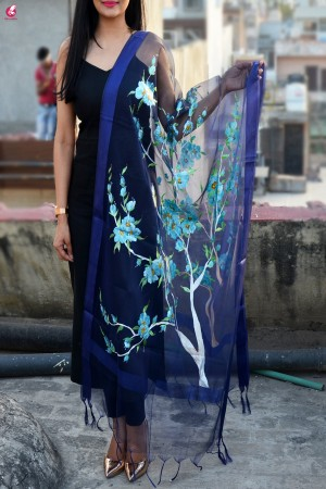 Purple Organza Floral Hand painted Stole