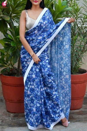 Blue & White Digital Print Satin Georgette Satin Taping Saree