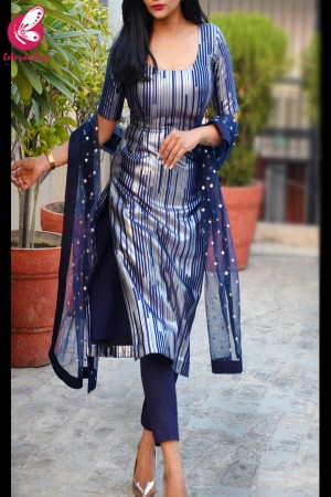 Navy Blue and Silver Padded Pure Crepe Kurti with Blue Cotton Silk Pants and Blue Net Mirror Work Net Stole