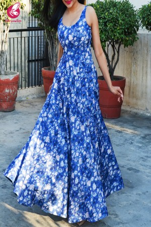 Blue Satin Georgette Padded Gown