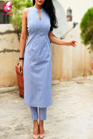 Blue Stripes Cotton Kurti Set