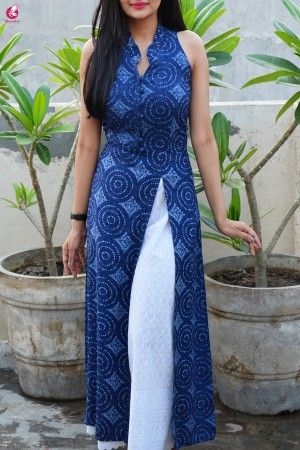 Dark Blue Printed Modal Kurti with White Lakhnawi Full Lining Cotton Palazzo