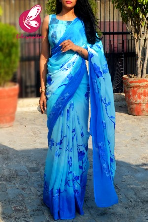 Sky Blue & Blue Double Shaded Chinon Handpainted Saree