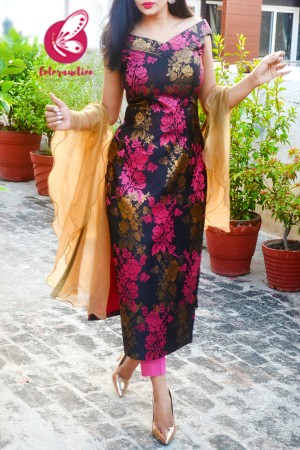 Pink & Golden Brocade Silk Padded Off Shoulder Kurti with Pink Cotton Silk Pants and Golden Triple Layer Ruffle Stole