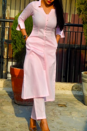 Baby Pink Dobby Kurti with Baby Pink Cotton Silk Pants Kurti Set