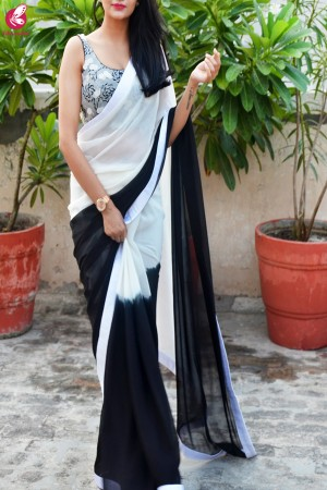 Black & White Double Shaded Georgette Saree