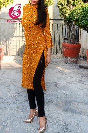 Mustard Bubble Crepe Floral Printed Quarter Sleeves Kurti