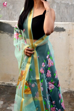 Pista Green Floral Handpainted Stole