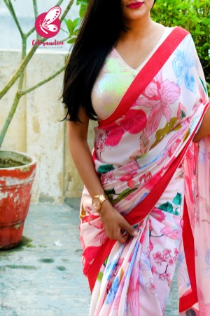 Off White Multicoloured Floral Satin Georgette Dupion Taping Saree