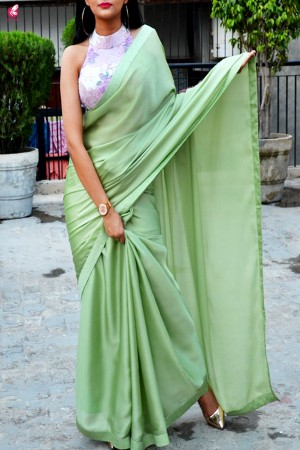 Pistachio Green Silk Georgette Saree