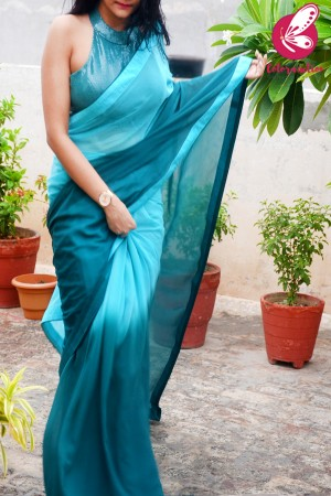 Teal Blue Green Half & Half Double Shaded Georgette Dupion Taping Saree