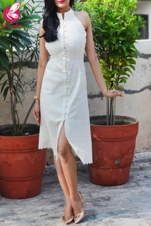 Cream Cotton Chikankari Sleeveless Dress