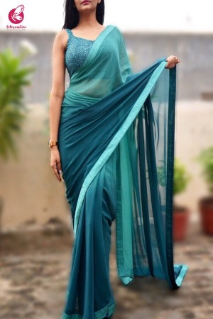 Teal Green Double Shaded Georgette Saree