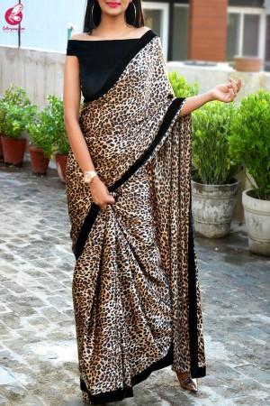 Cream Leopard Print Satin Velvet Taping Saree