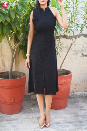 Black Cotton Chikankari Sleeveless Dress