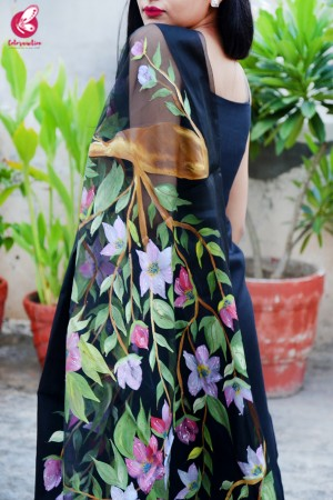 Black Organza Handpainted Colorful Floral Stole