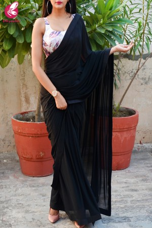 Black Lycra Net Saree